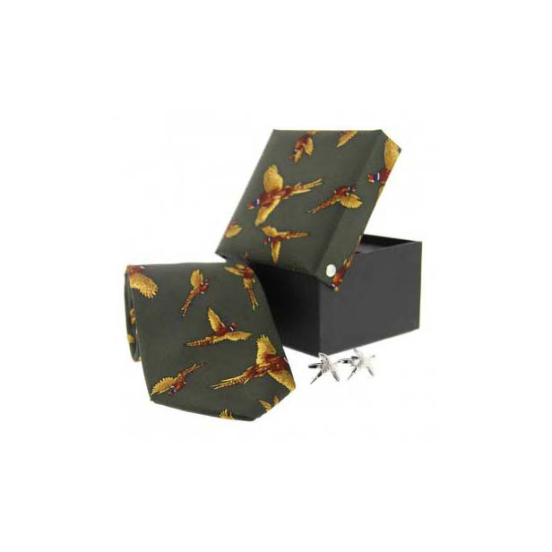 Green Pheasant in Flight Silk Tie and Cufflink Country Box Set
