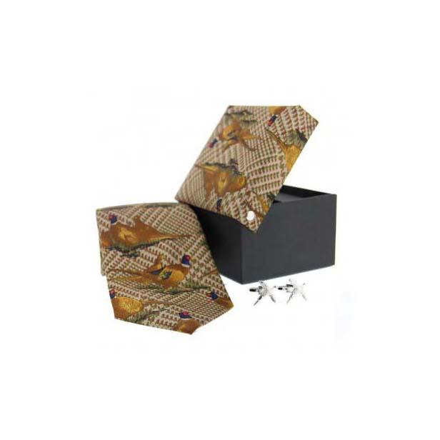 Green Tweed Pheasant in Flight Silk Tie and Cufflink Set
