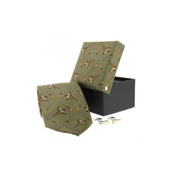 Green Pheasant and Shotgun Tie and Cufflink Box Set