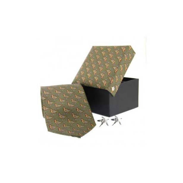 Green Pheasant Country Tie and Cufflink Box Set