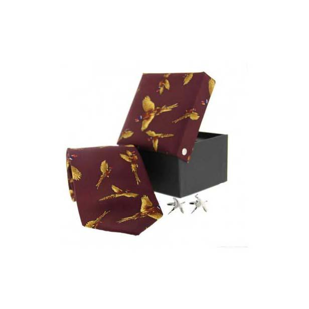 Wine Pheasant in Flight Silk Tie and cufflink Set