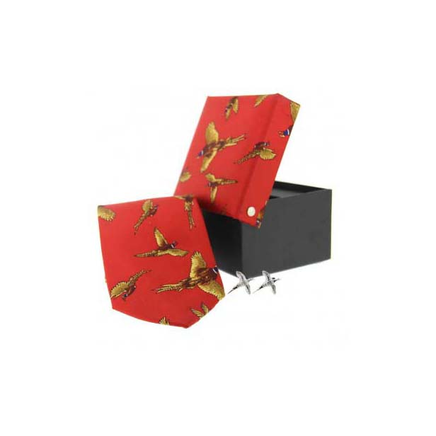 Red Pheasant Country Tie and Cufflink Box Set