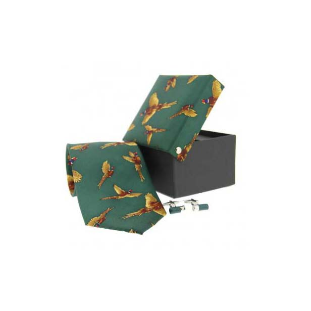 Green Pheasant in Flight Country Tie and Cufflink Box Set