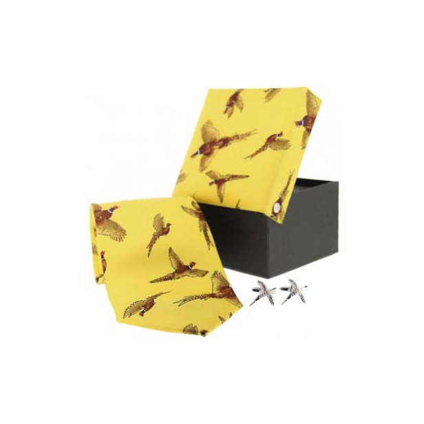 Yellow Pheasant in Flight Country Tie and Cufflink Box Set
