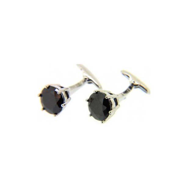 Black Crystal Round Cufflinks