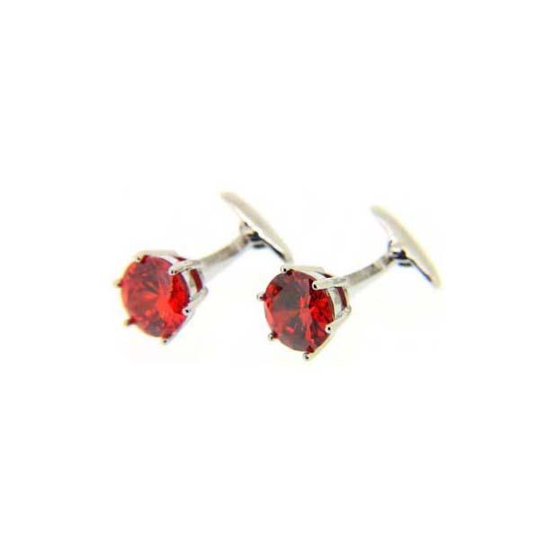 Ruby Crystal Round Cufflinks