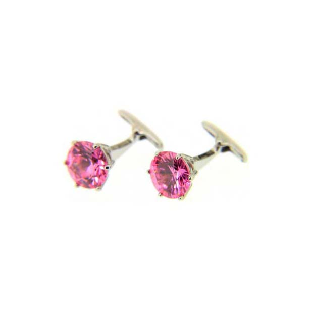 Pink Crystal Round Cufflinks
