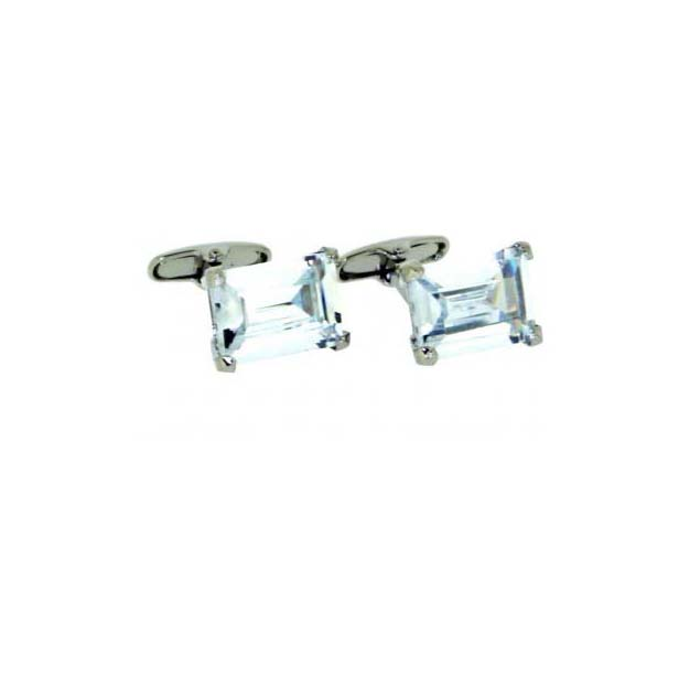 Clear Crystal Rectangle Cufflinks