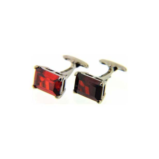 Clear Ruby Rectangle Cufflinks