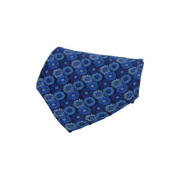 Blue Floral Patterned Silk Pocket Square
