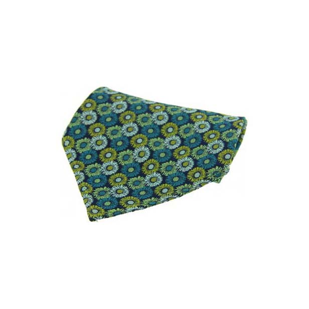 Green Floral Patterned Silk Pocket Square