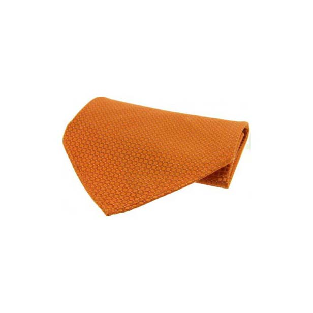 Orange Box Weave Silk Pocket Square