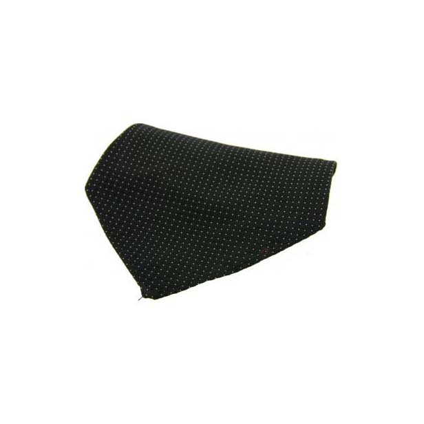 Black Box Weave with White Pin Dots Silk Pocket Square