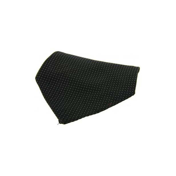 Black Box Weave with White Pin Dots Silk Pocket Square