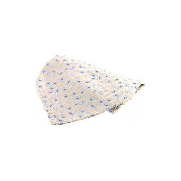 Ivory with Small Paisley Pattern Silk Pocket Square