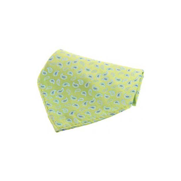Lime Green with Small Paisley Pattern Silk Pocket Square