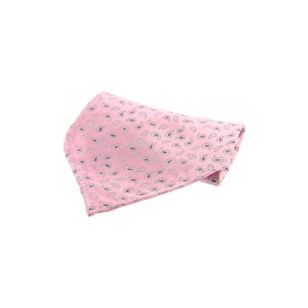 Pink with Small Paisley Pattern Silk Pocket Square
