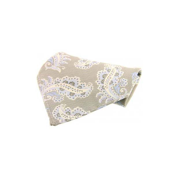 Sand with Large Paisley Pattern Silk Pocket Square