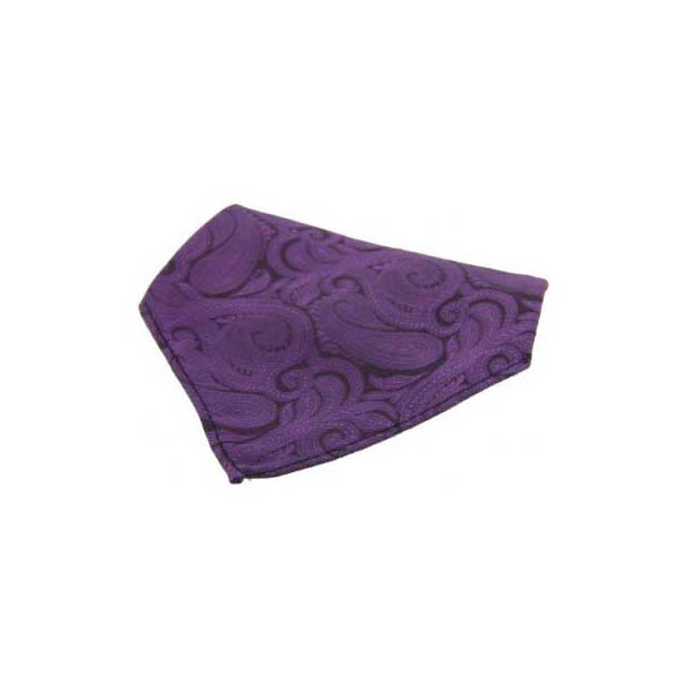 Purple with Large Paisley Pattern Silk Pocket Square