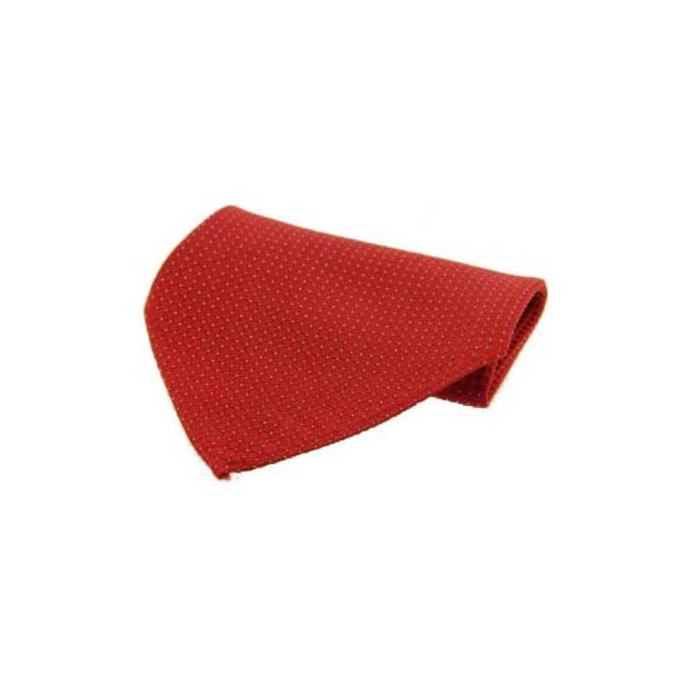 Red Box Weave with Pin Dots Silk Pocket Square