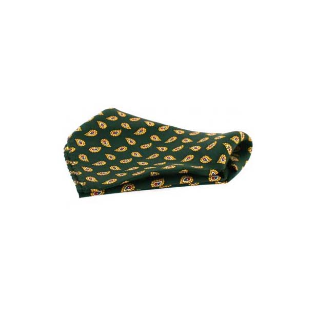 Small Green Tear Drop Paisley Silk Pocket Square