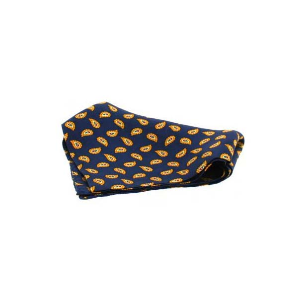 Small Navy Tear Drop Paisley Silk Pocket Square
