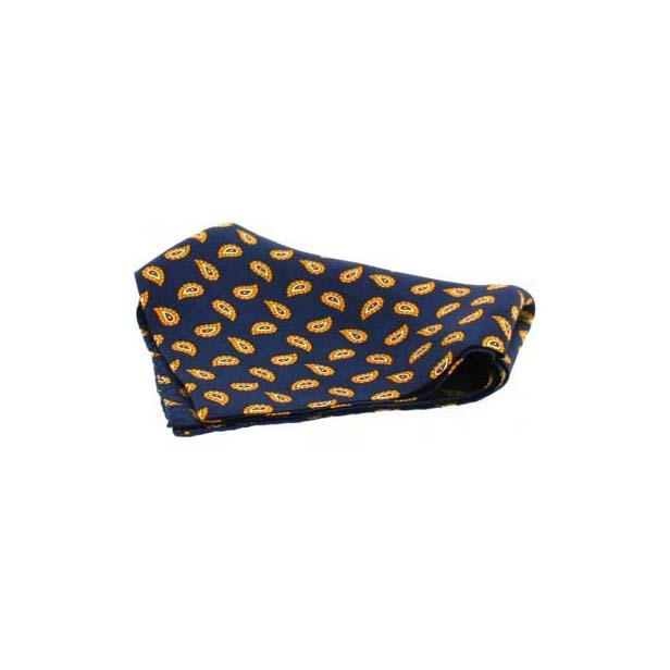 Small Navy Tear Drop Paisley Silk Pocket Square
