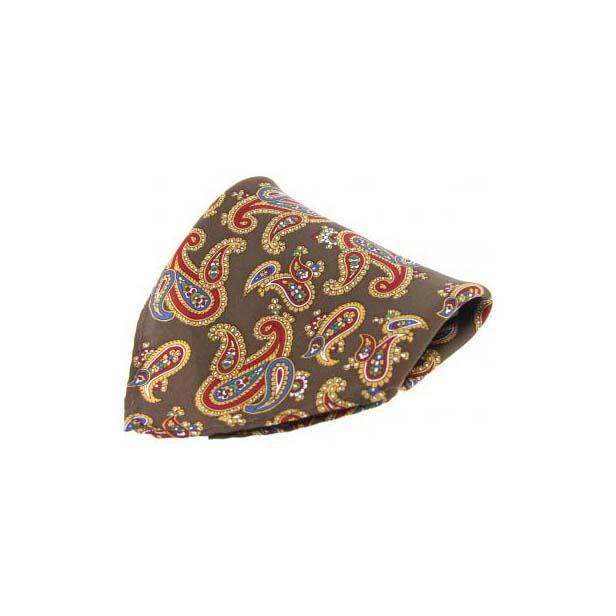 Brown Large Paisley Pattern Silk Pocket Square