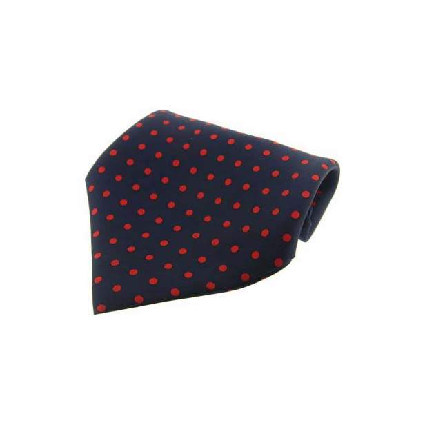 Navy With Red Polka Dots Silk Pocket Square