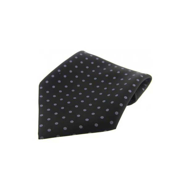 Black with Grey Polka Dots Silk Pocket Square