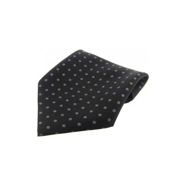 Black with Grey Polka Dots Silk Pocket Square
