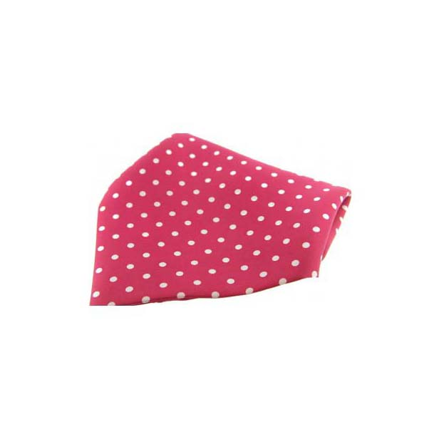 Red with White Polka Dots Silk Pocket Square