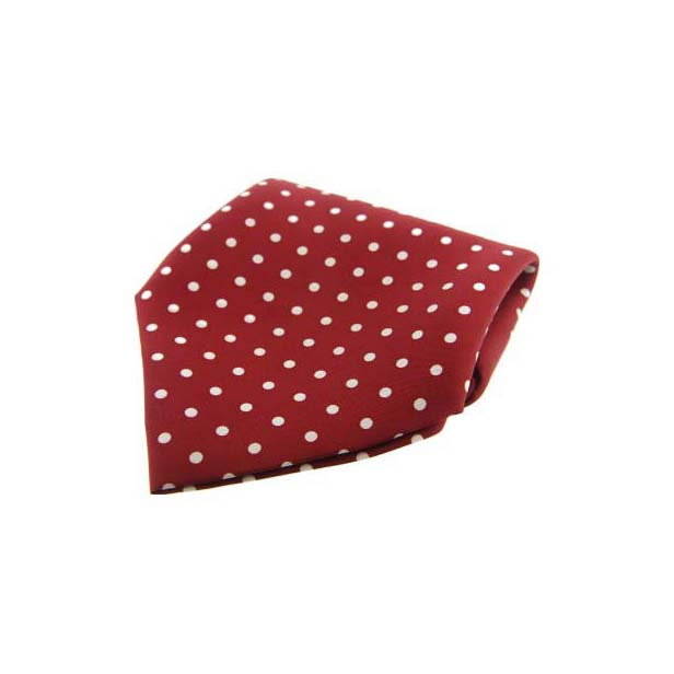 Wine with White Polka Dots Silk Pocket Square