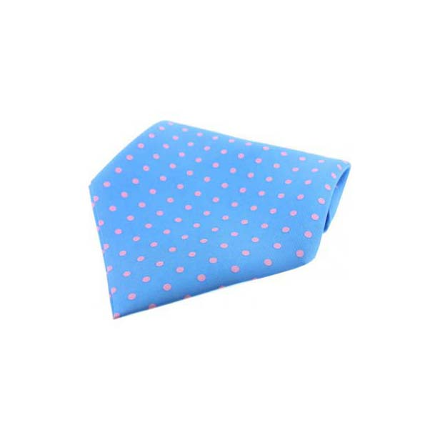 Sky Blue with Pink Polka Dots Silk Pocket Square