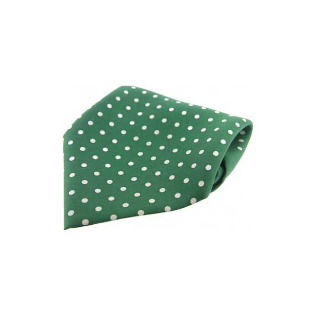 Green with White Polka Dots Silk Pocket Square