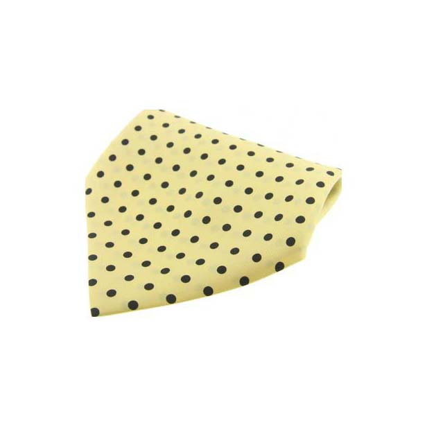 Yellow with Black Polka Dots Silk Pocket Square
