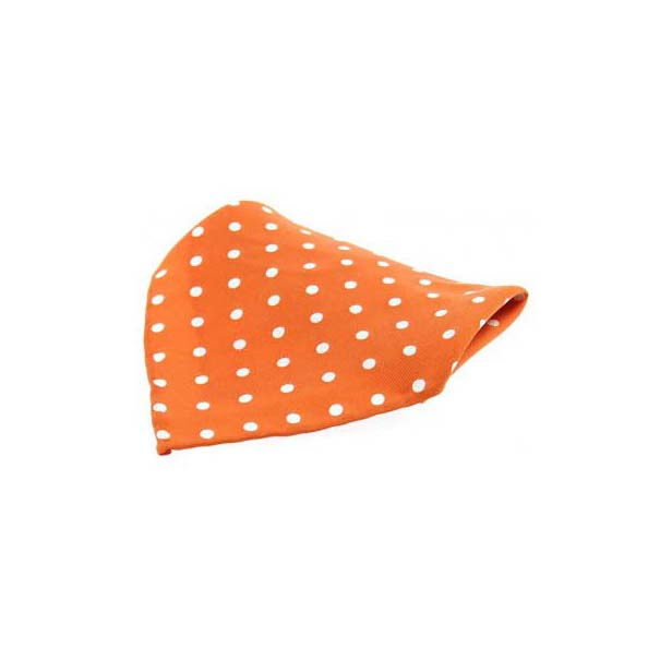 Orange with Black Polka Dots Silk Pocket Square
