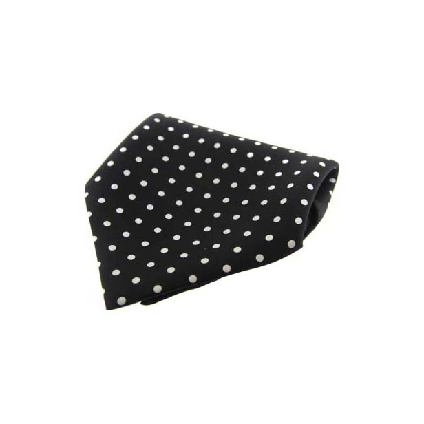 Black with White Polka Dots Silk Pocket Square