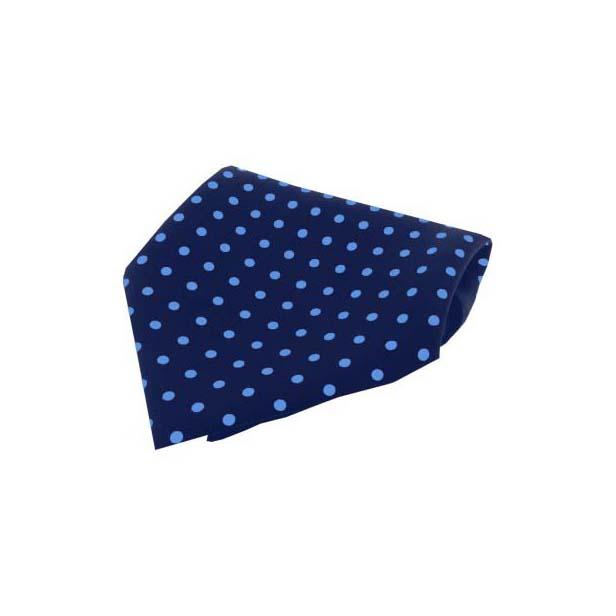 Navy with Light Blue Polka Dots Silk Pocket Square