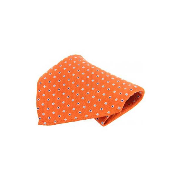 Orange with Small Square Pattern Silk Pocket Square