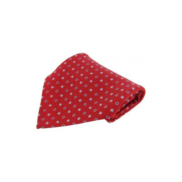 Red with Small Square Pattern Silk Pocket Square