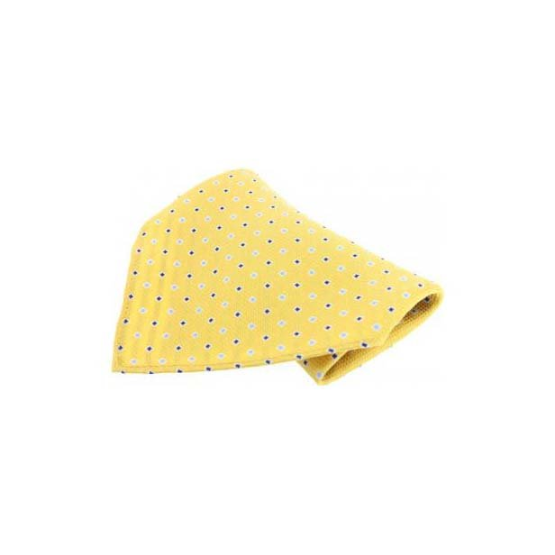 Yellow with Small Square Pattern Silk Pocket Square