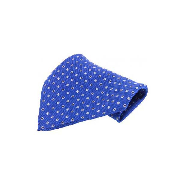 Blue with Small Square Pattern Silk Pocket Square