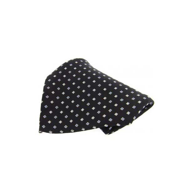 Black with Small Square Pattern Silk Pocket Square