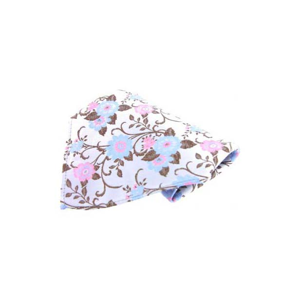 Silver with Pink and Blue Flowers Silk Pocket Square
