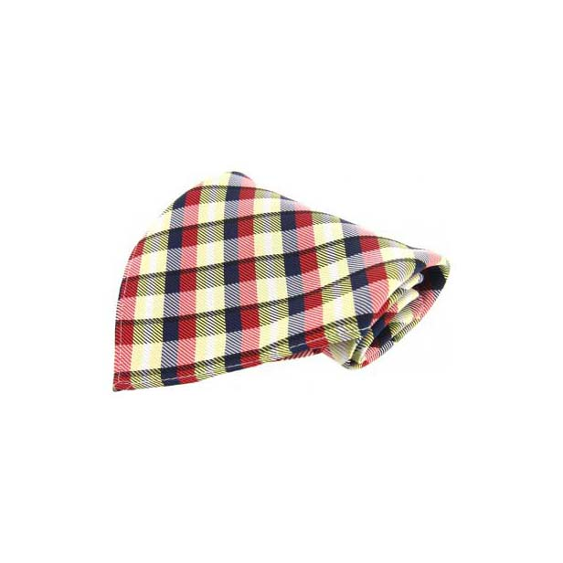Red, Yellow & Blue Checked Silk Pocket Square