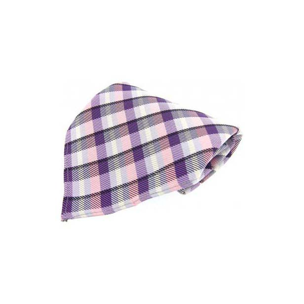 Lilac and Pink Checked Silk Pocket Square