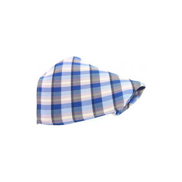Blue Checked Silk Pocket Square