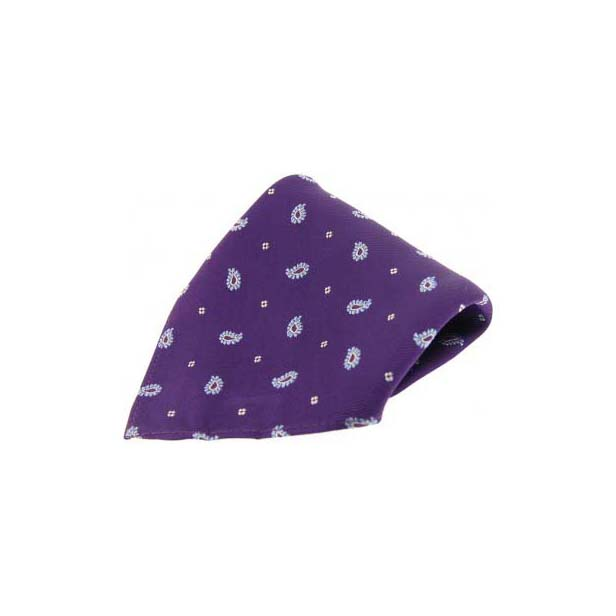 Purple with Small Paisley Pattern Silk Pocket Square