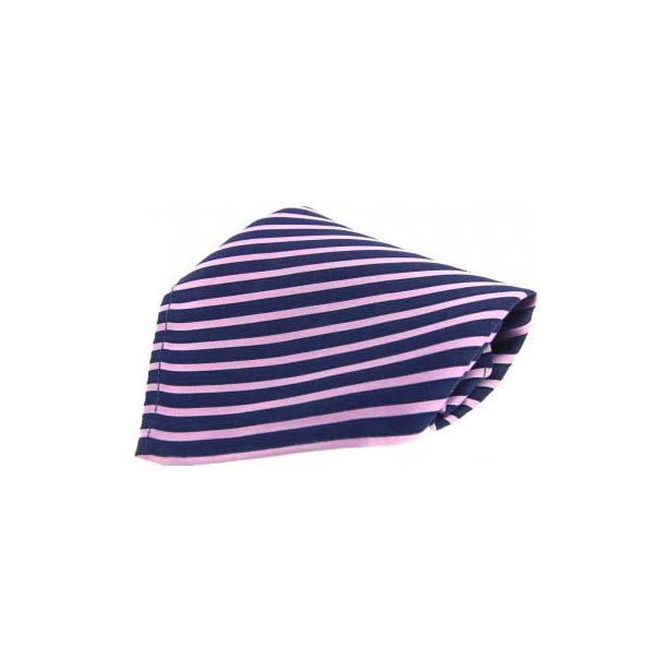 Blue and Pink Striped Silk Pocket Square
